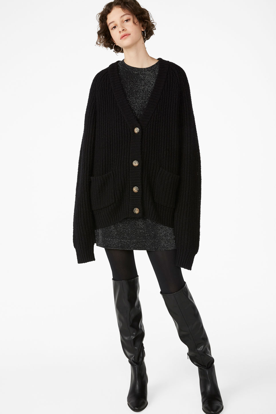 Model front image of Monki oversized chunky cardigan in black