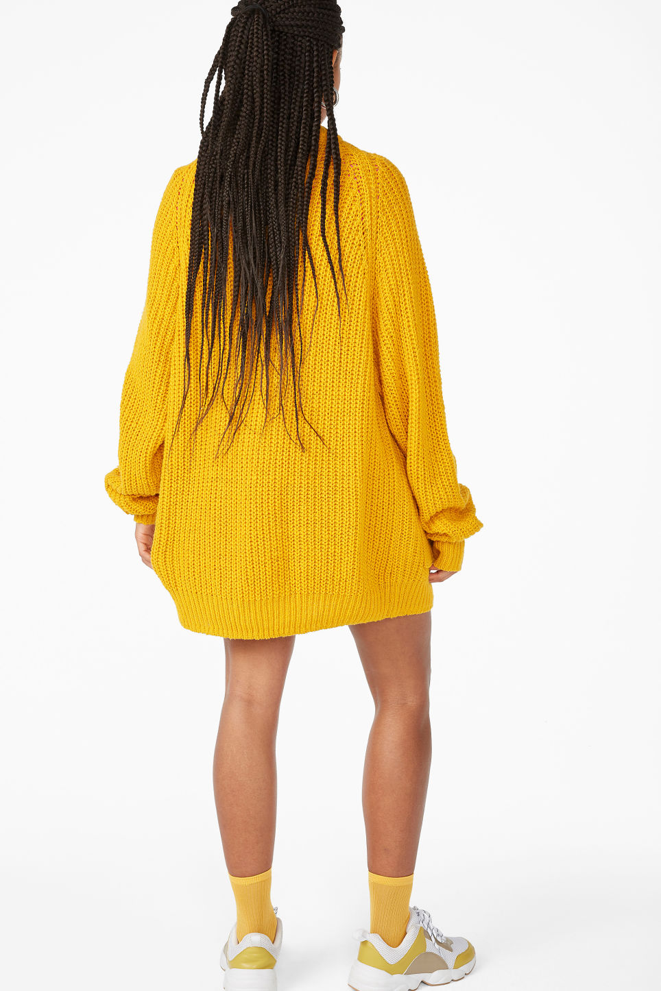Model back image of Monki oversized chunky cardigan in yellow