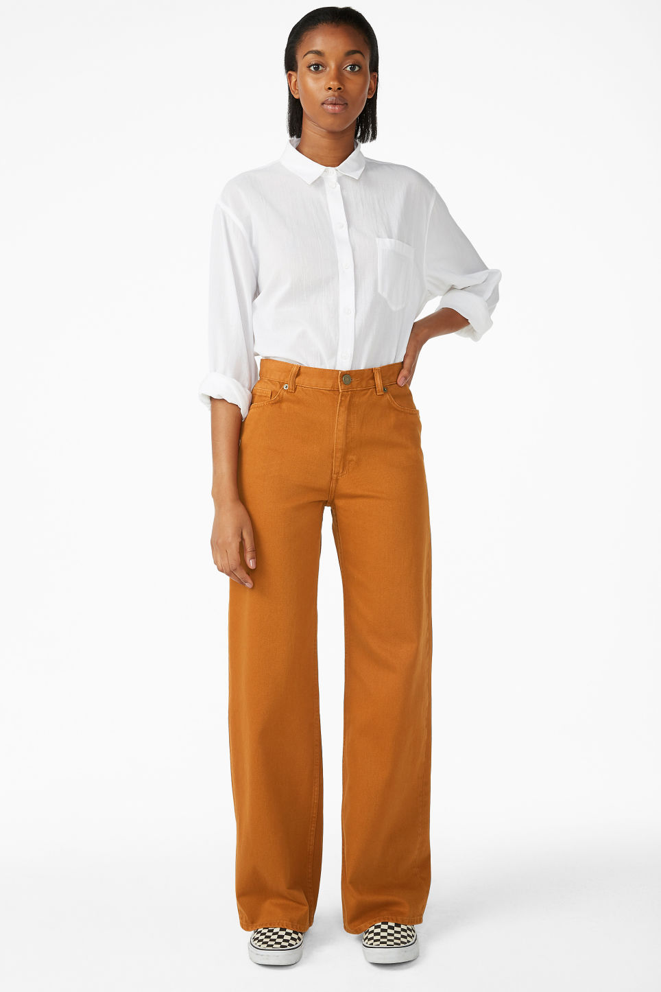 Model front image of Monki yoko dark mustard jeans in orange