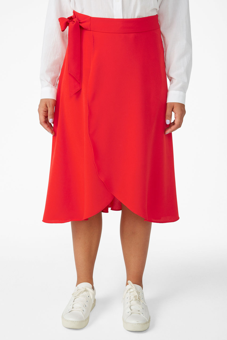 Model side image of Monki wrap front skirt in red