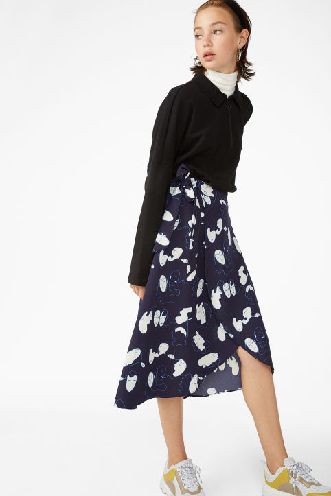 Wrap front skirt