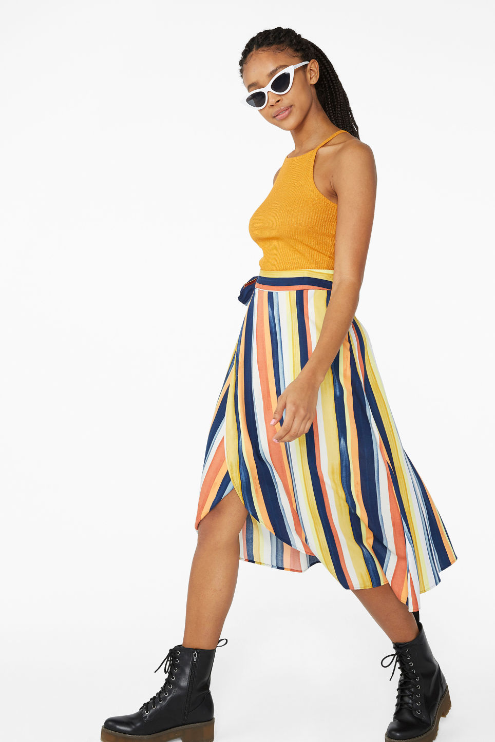 Model front image of Monki wrap front skirt in blue