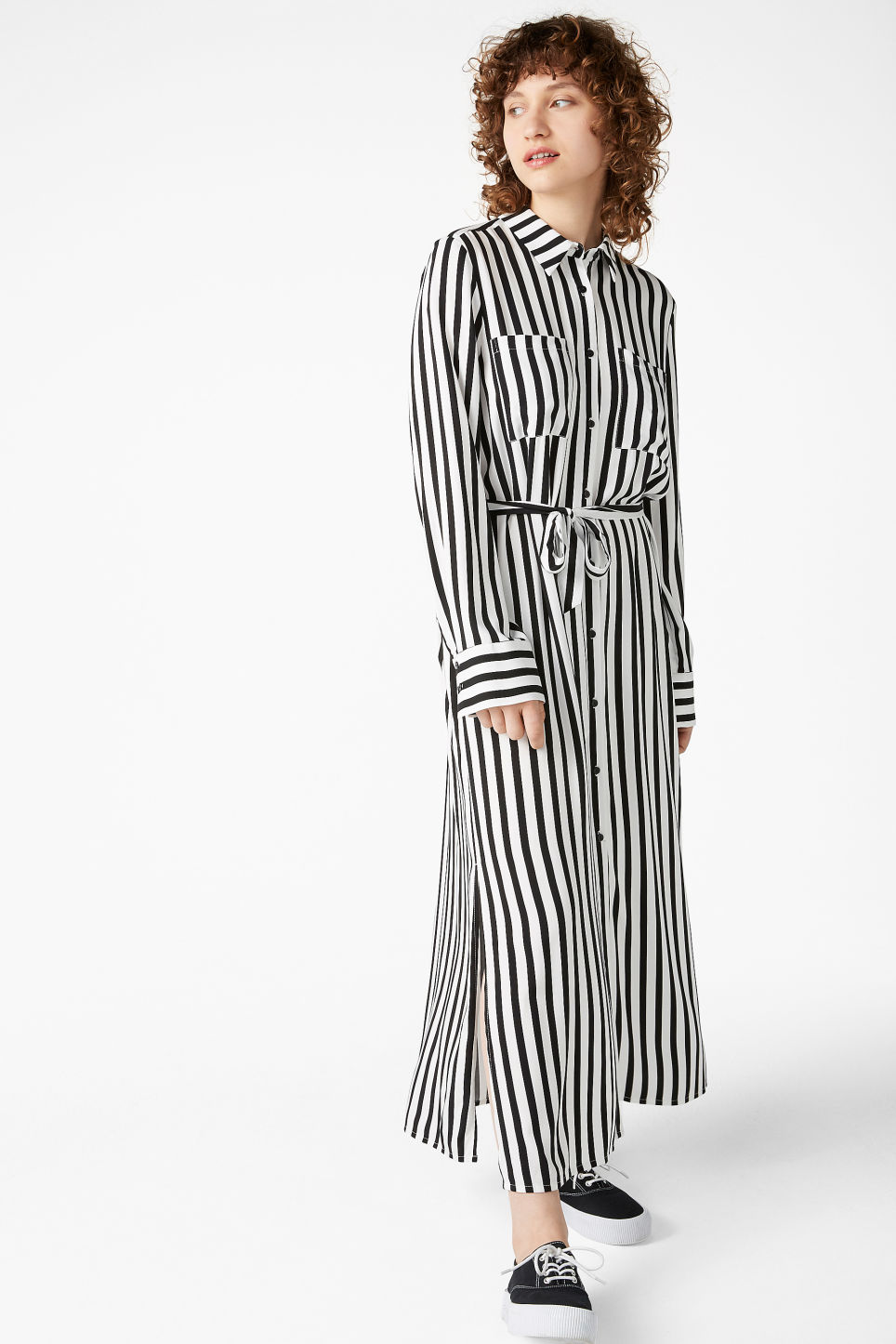 Model front image of Monki long shirt dress in black