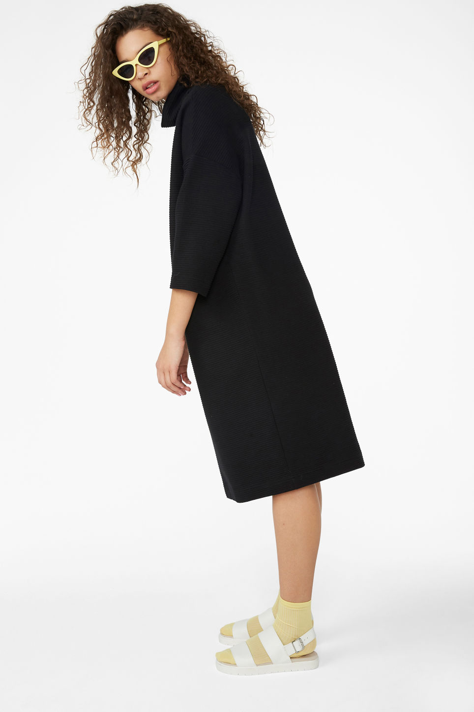 Model front image of Monki ribbed turtleneck dress in black