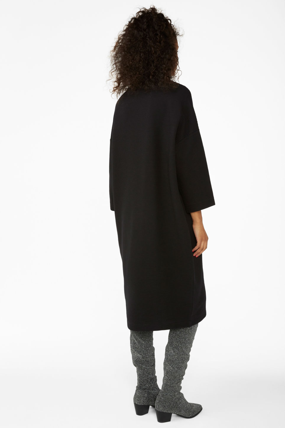 Model back image of Monki ribbed turtleneck dress in black