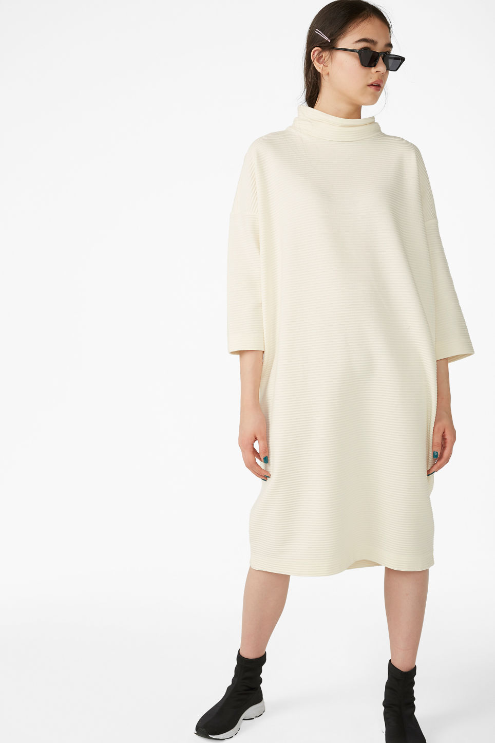 Model front image of Monki ribbed dress in white