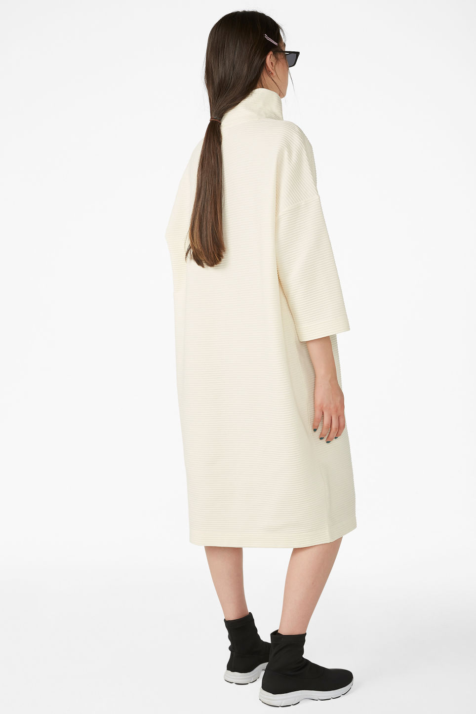 Model back image of Monki ribbed dress in white