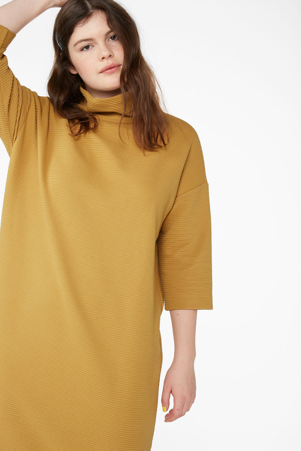 Model front image of Monki ribbed turtleneck dress in yellow