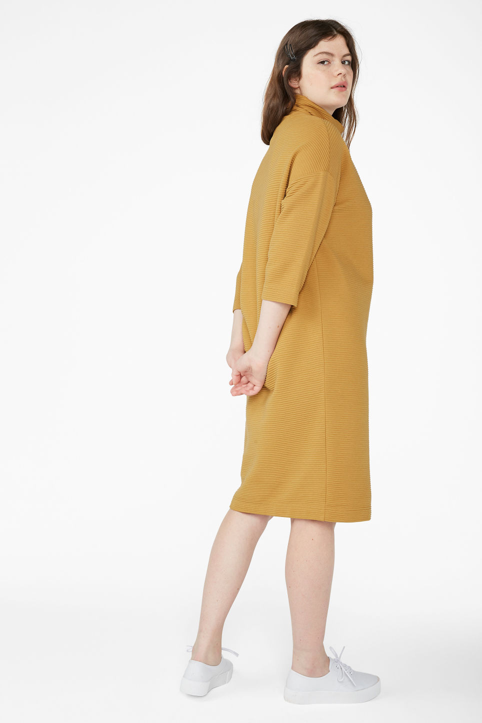 Model back image of Monki ribbed turtleneck dress in yellow