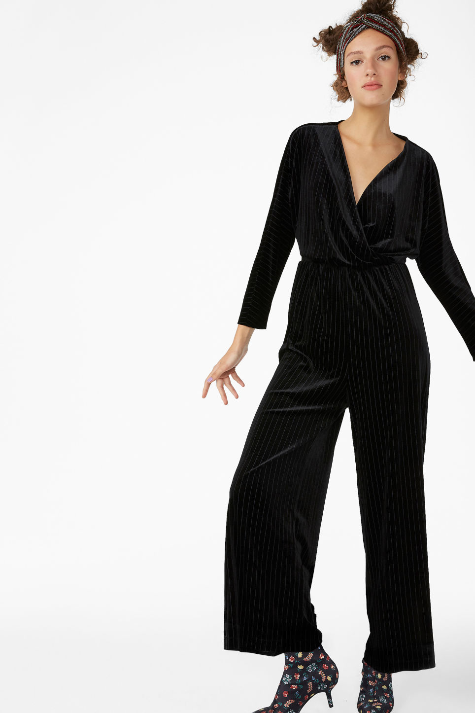 Model front image of Monki wrap jumpsuit in black