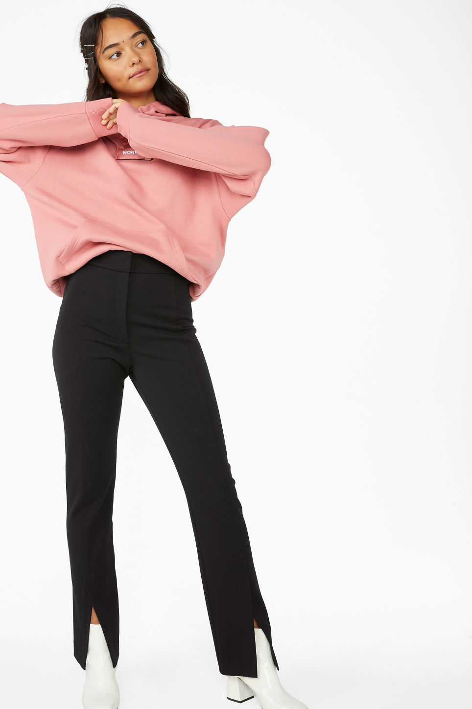 Model front image of Monki front slit trousers in black