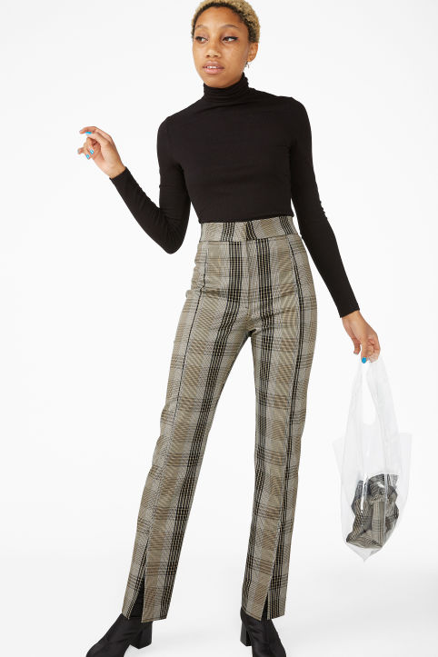 Front slit trousers