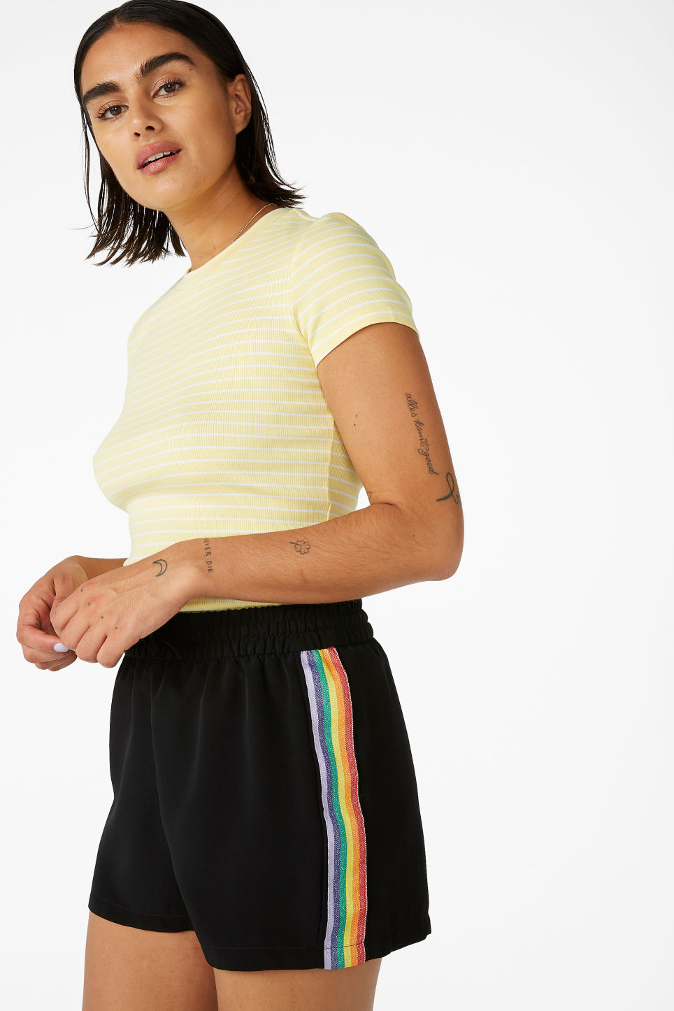 Model front image of Monki rainbow side stripe shorts in black