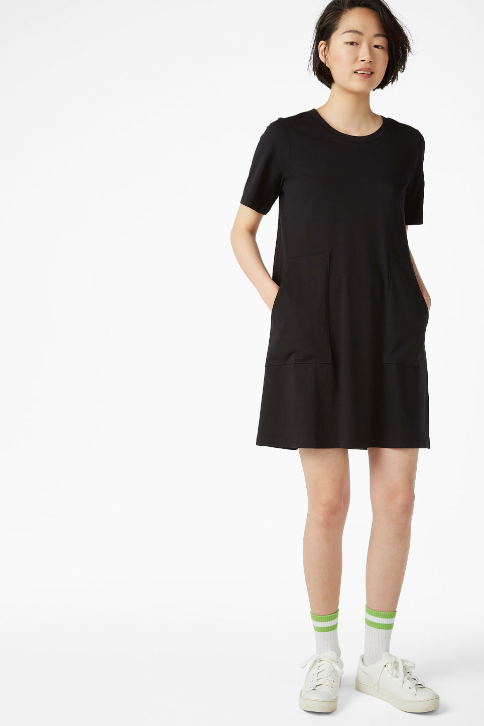 Model side image of Monki oversized shirt dress in black