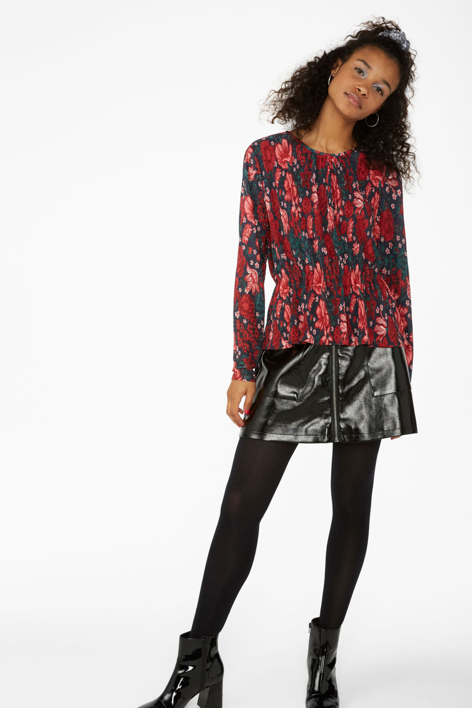 Model side image of Monki shirred top in black