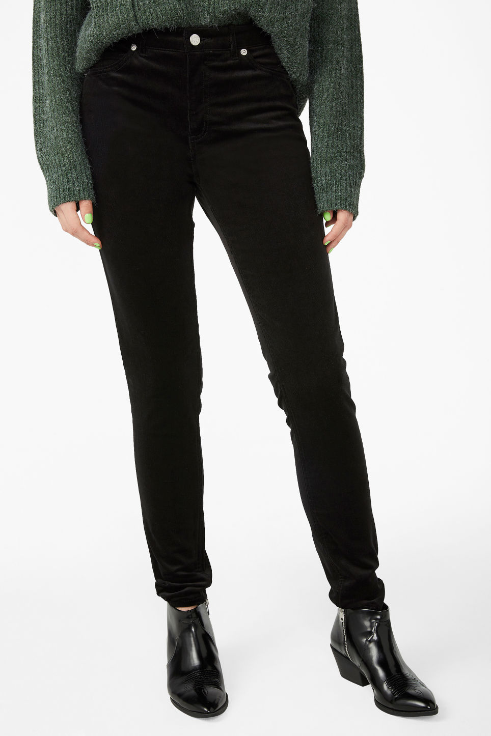 Model side image of Monki corduroy trousers in black