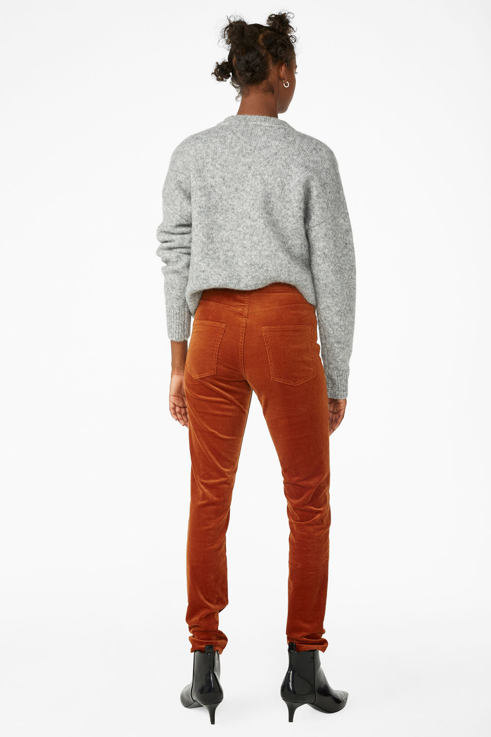 Model back image of Monki corduroy trousers in orange