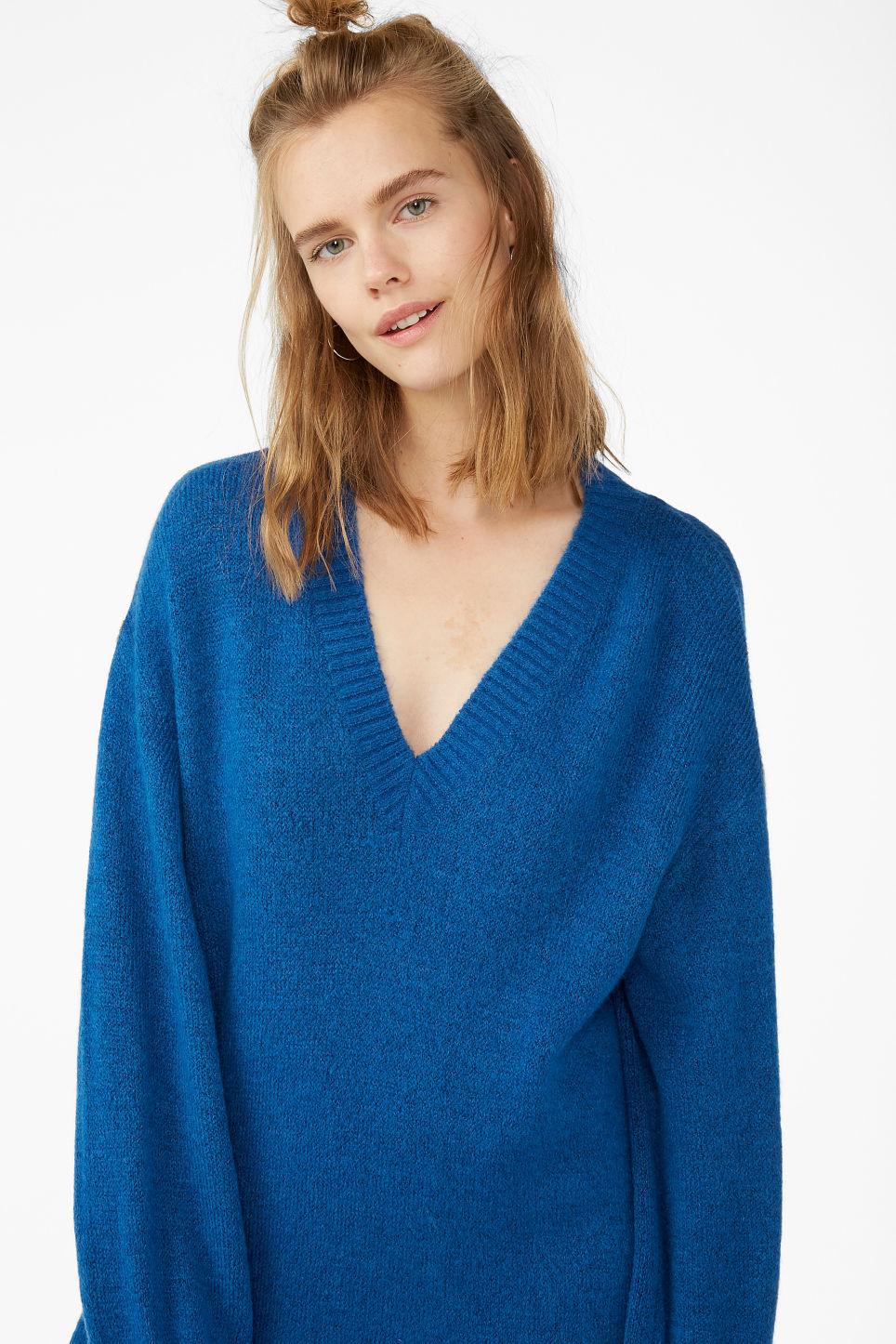 Model front image of Monki knitted sweater dress in blue