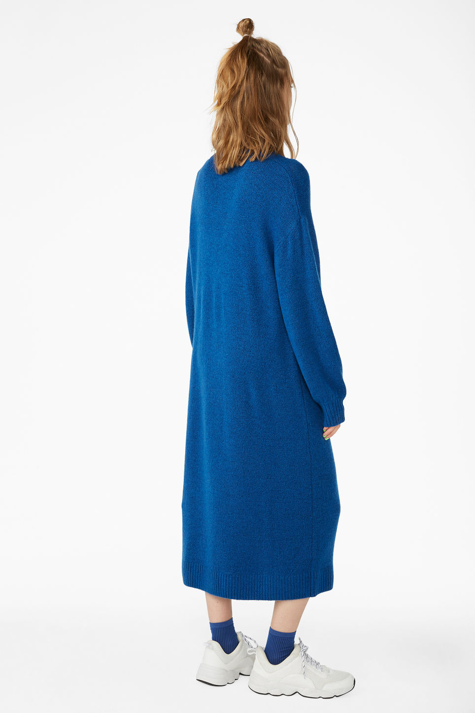 Model back image of Monki knitted sweater dress in blue