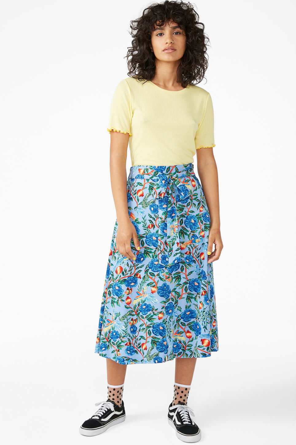 Model front image of Monki frill hem t-shirt in yellow