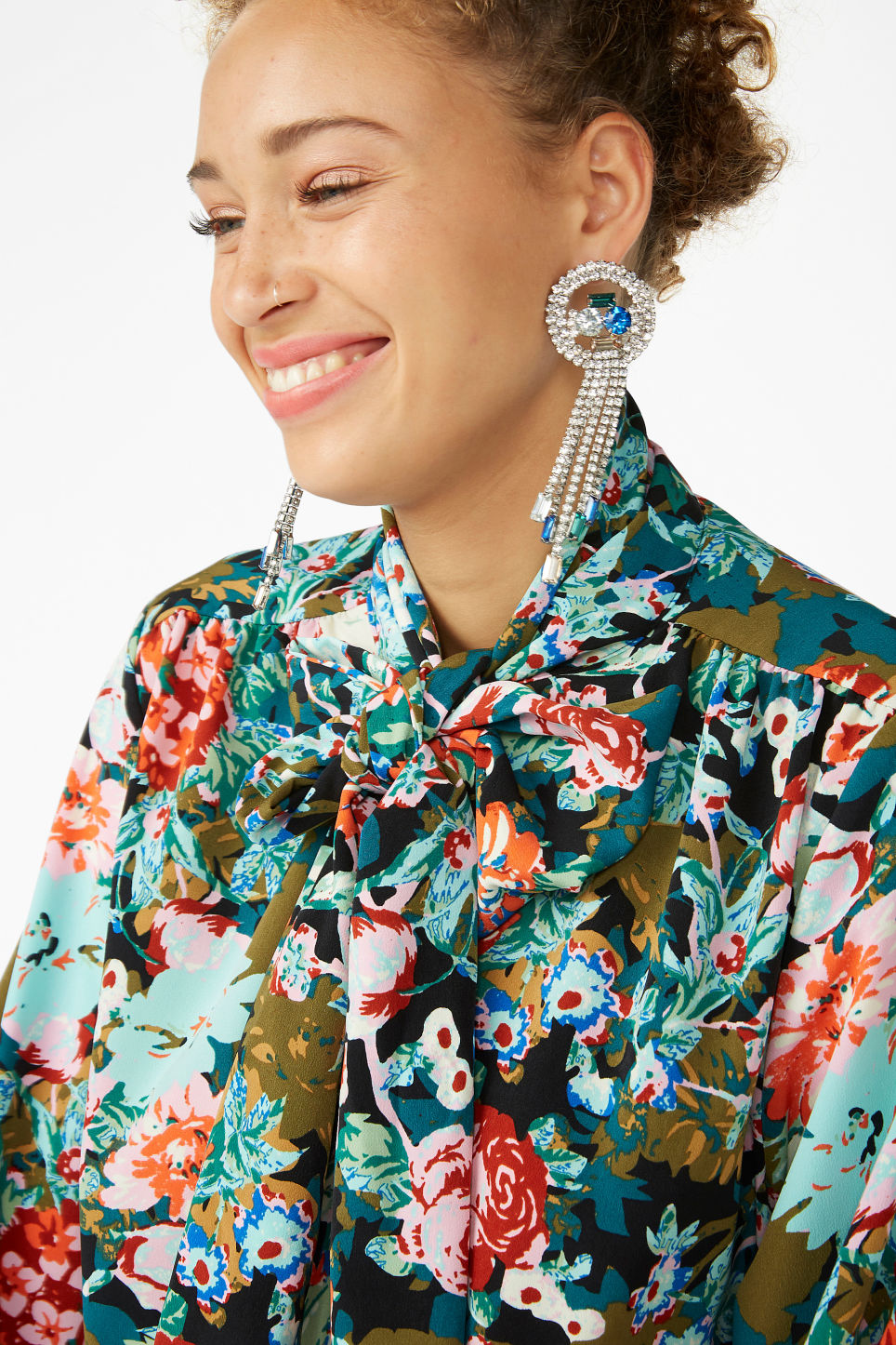 Model front image of Monki embellished earrings in silver