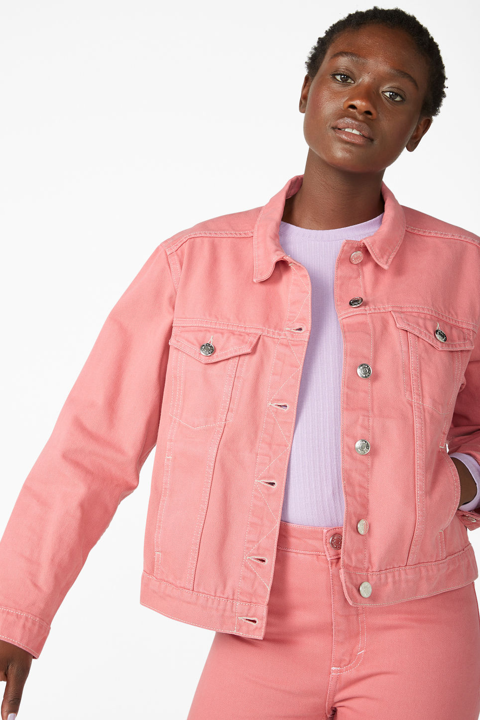 Model front image of Monki classic denim jacket in pink