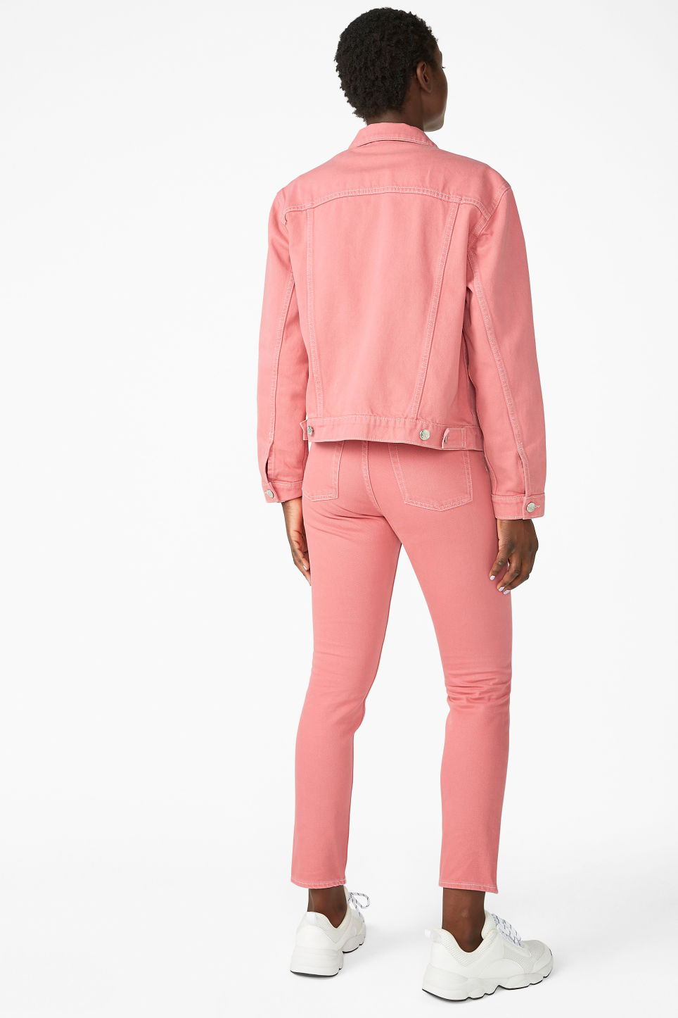 Model back image of Monki classic denim jacket in pink