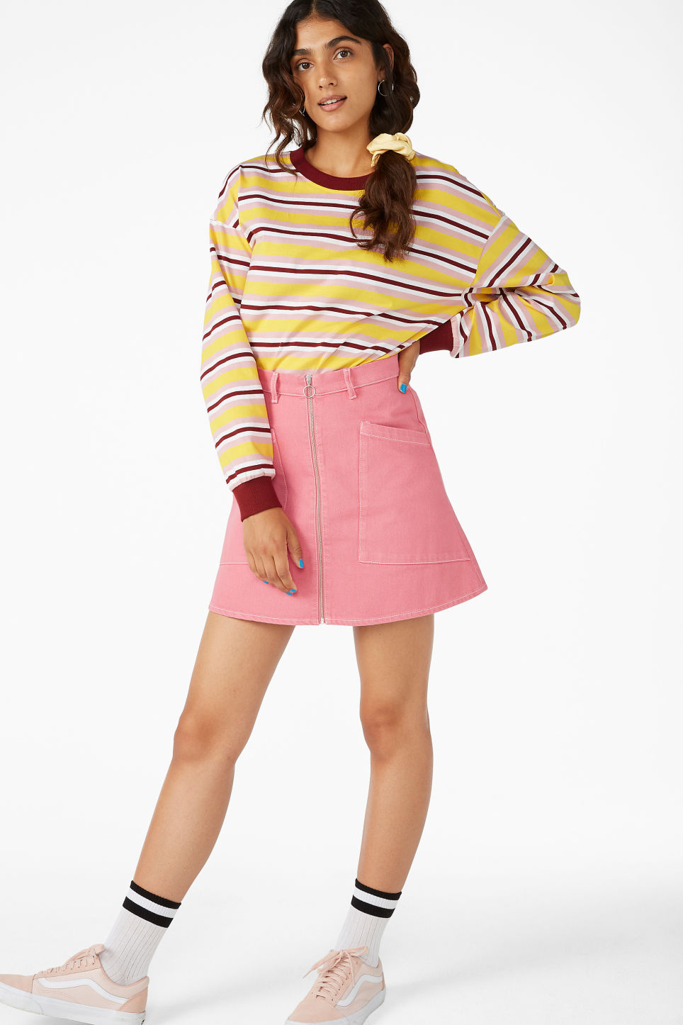 Model front image of Monki denim mini skirt in pink