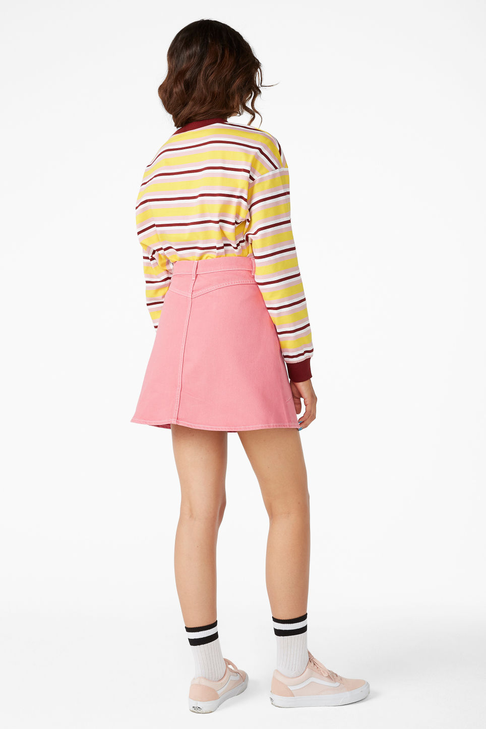 Model back image of Monki denim mini skirt in pink