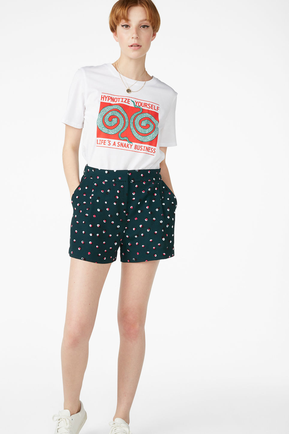 Model front image of Monki classic shorts  in green