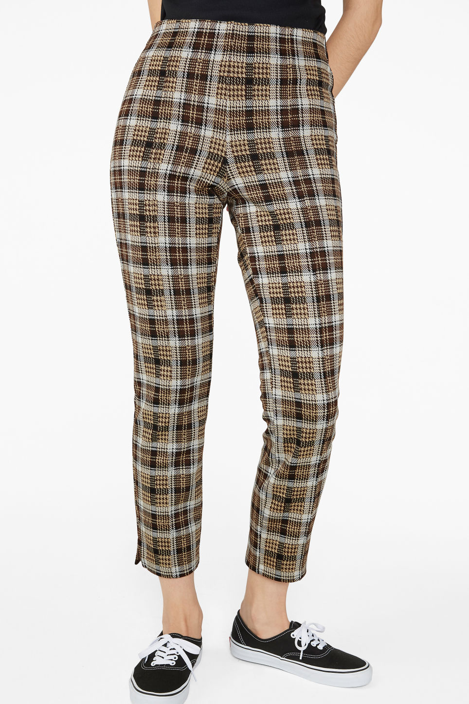 Model side image of Monki dressy trousers in beige