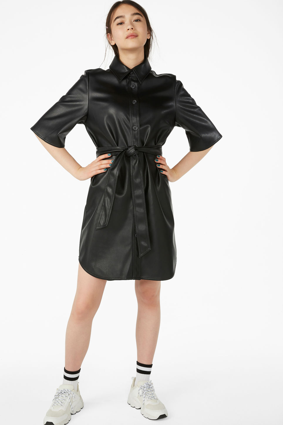 Model front image of Monki faux leather dress in black