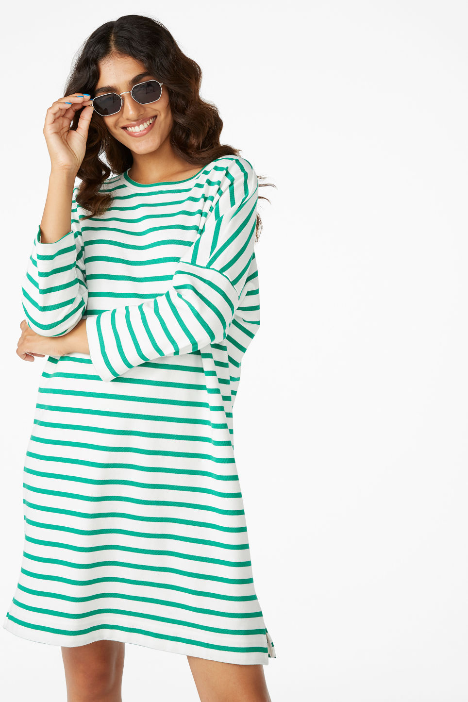 Model front image of Monki cotton dress in green