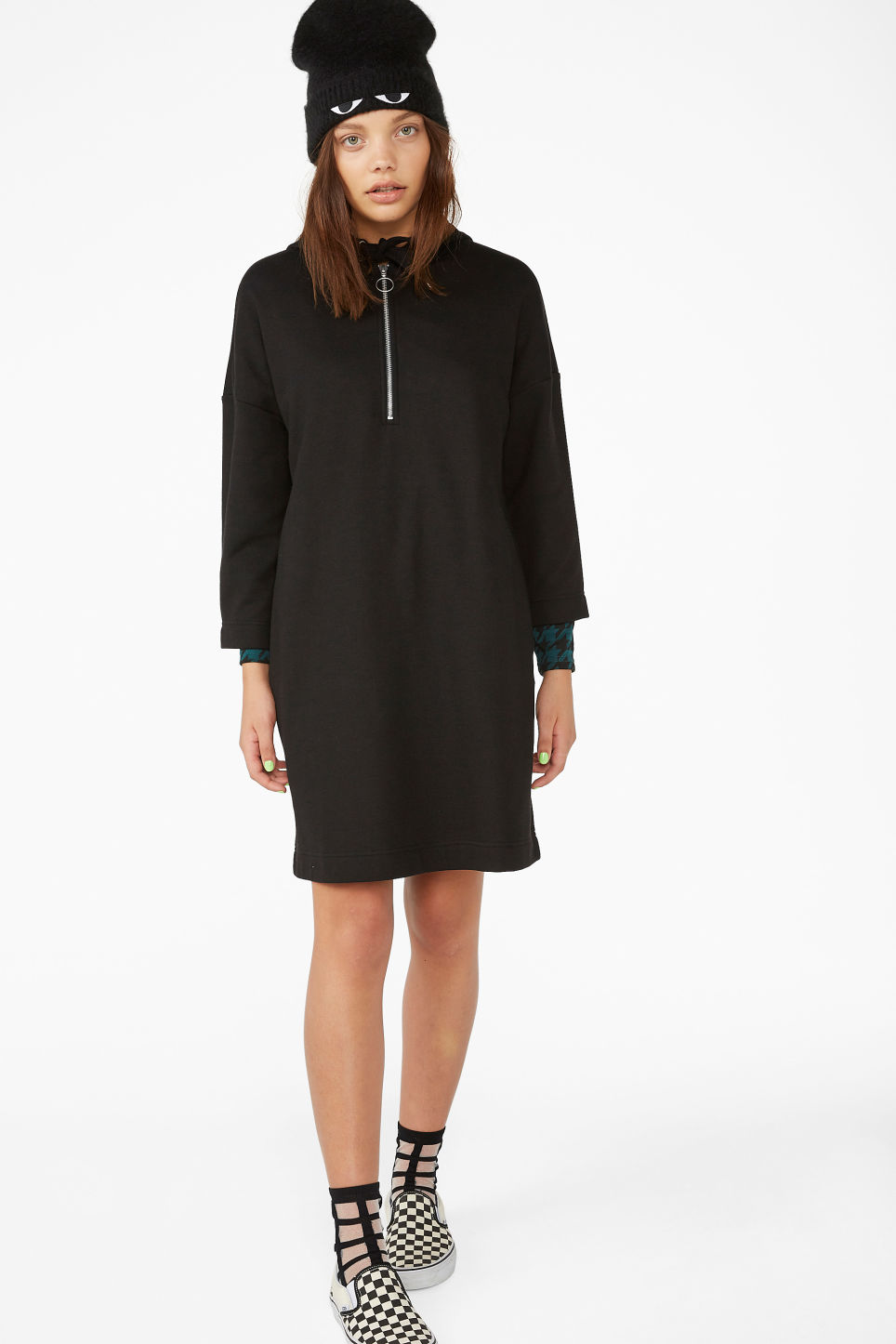 Model front image of Monki long hoodie dress in black