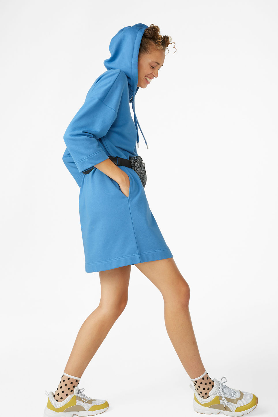 Model front image of Monki long hoodie dress in blue