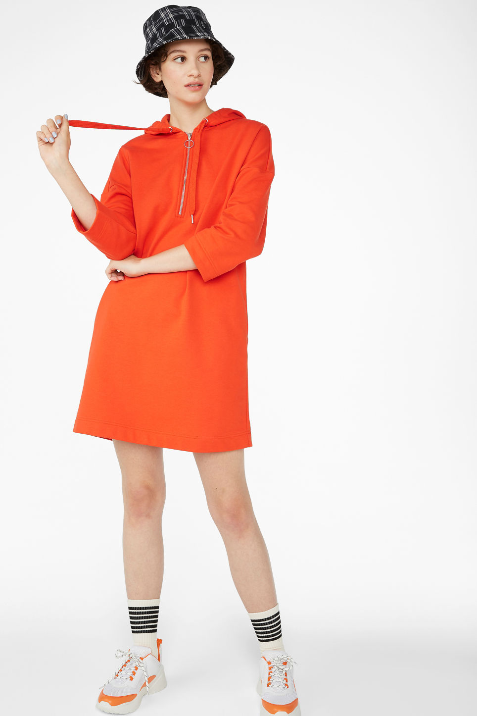 Model front image of Monki long hoodie dress in orange
