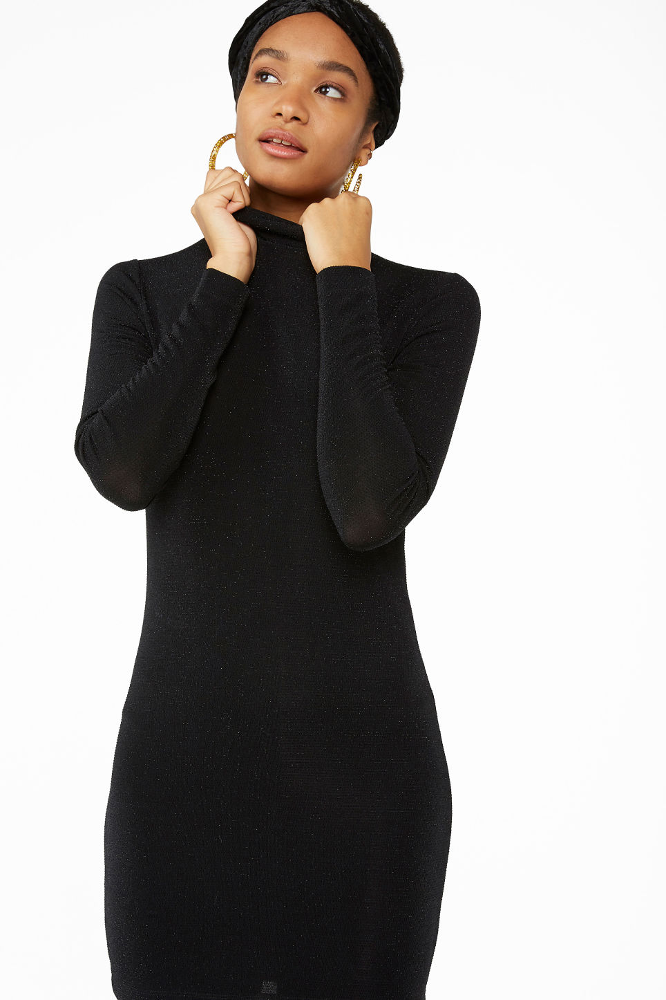 Model front image of Monki super-stretchy lurex dress in black