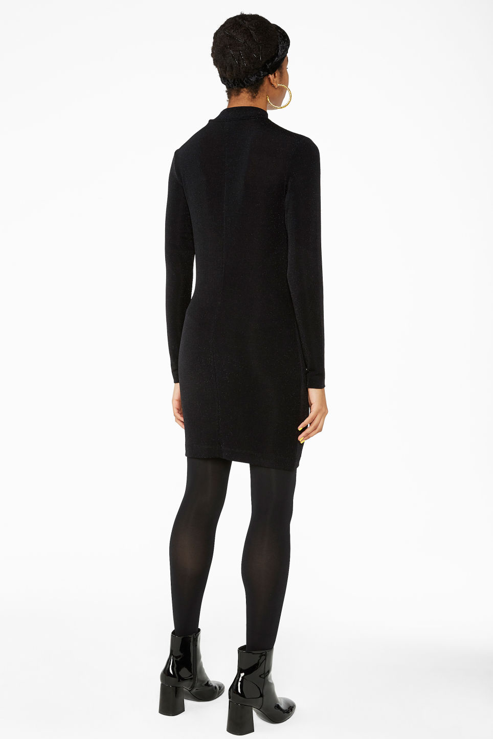 Model back image of Monki super-stretchy lurex dress in black