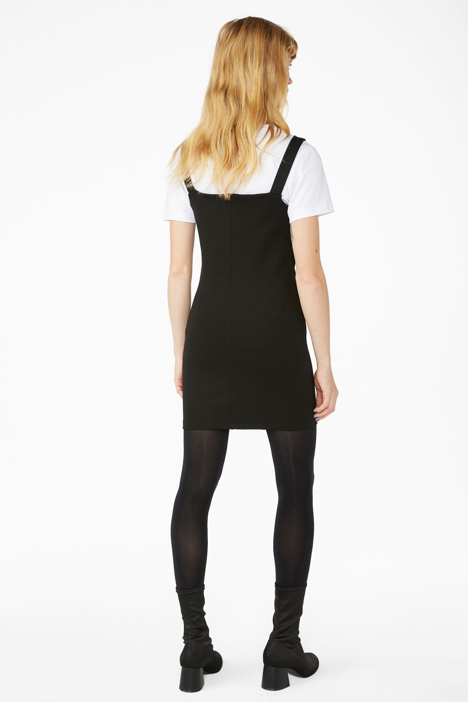 Model back image of Monki front zip party dress in black