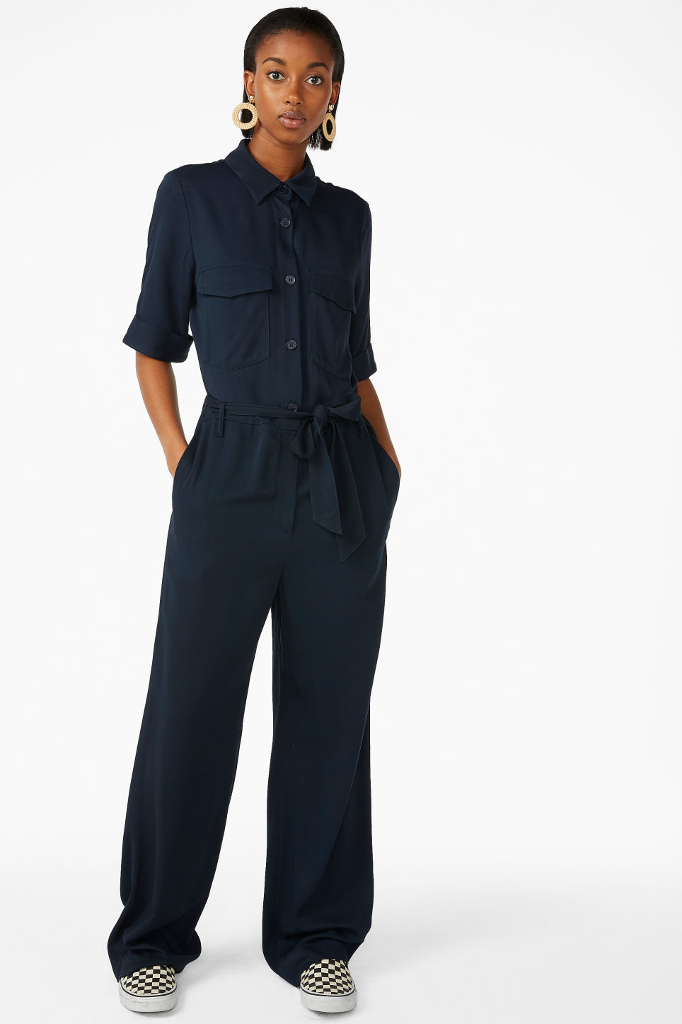 Model front image of Monki tie-waist jumpsuit in blue