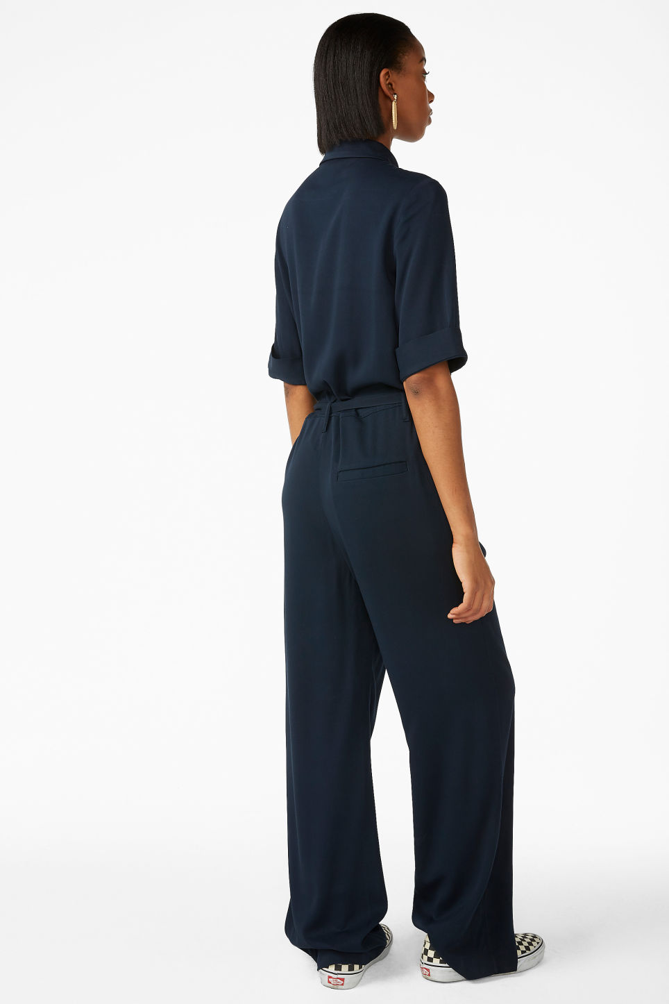 Model back image of Monki tie-waist jumpsuit in blue