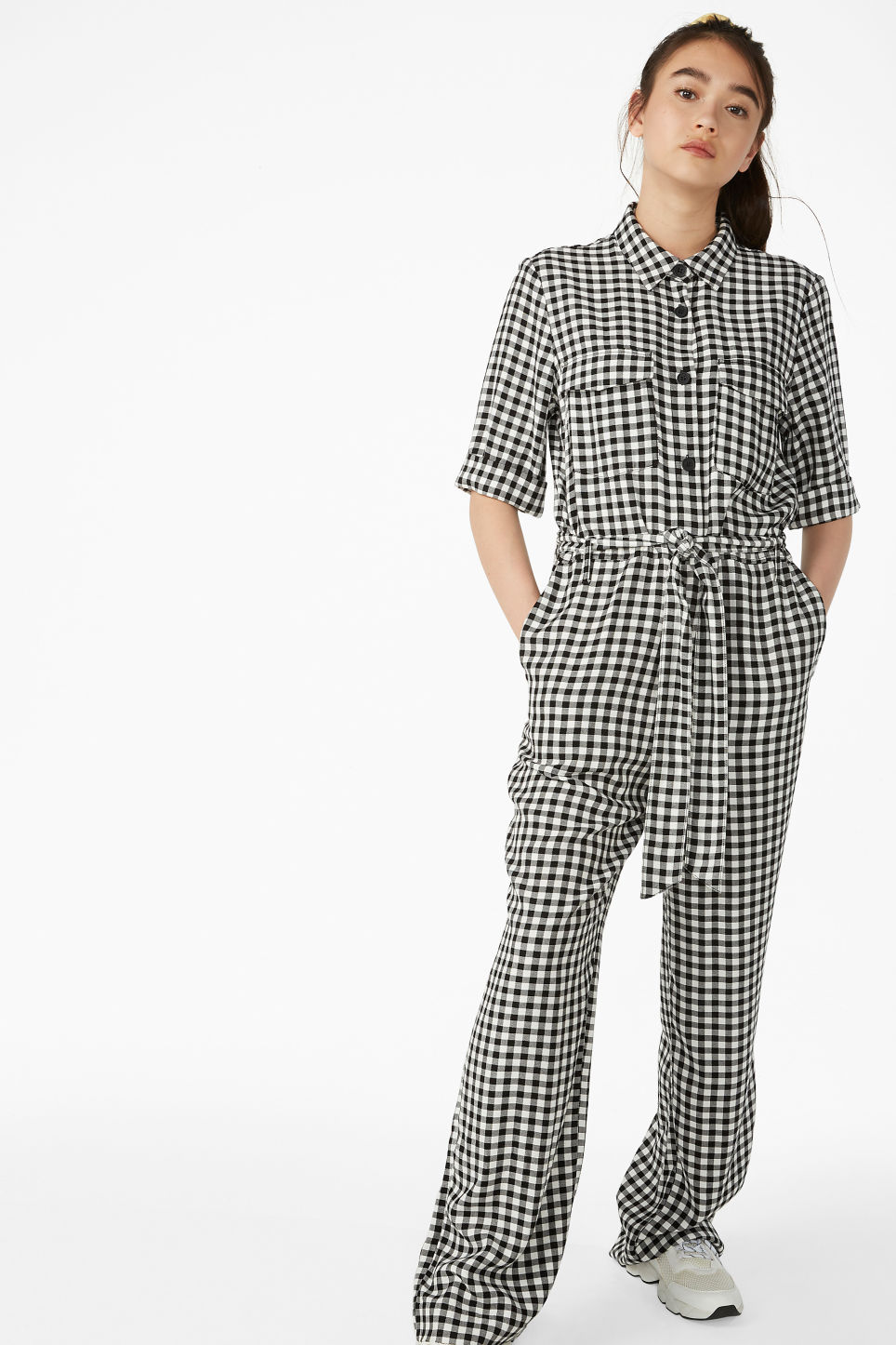 Model front image of Monki tie-waist jumpsuit in black