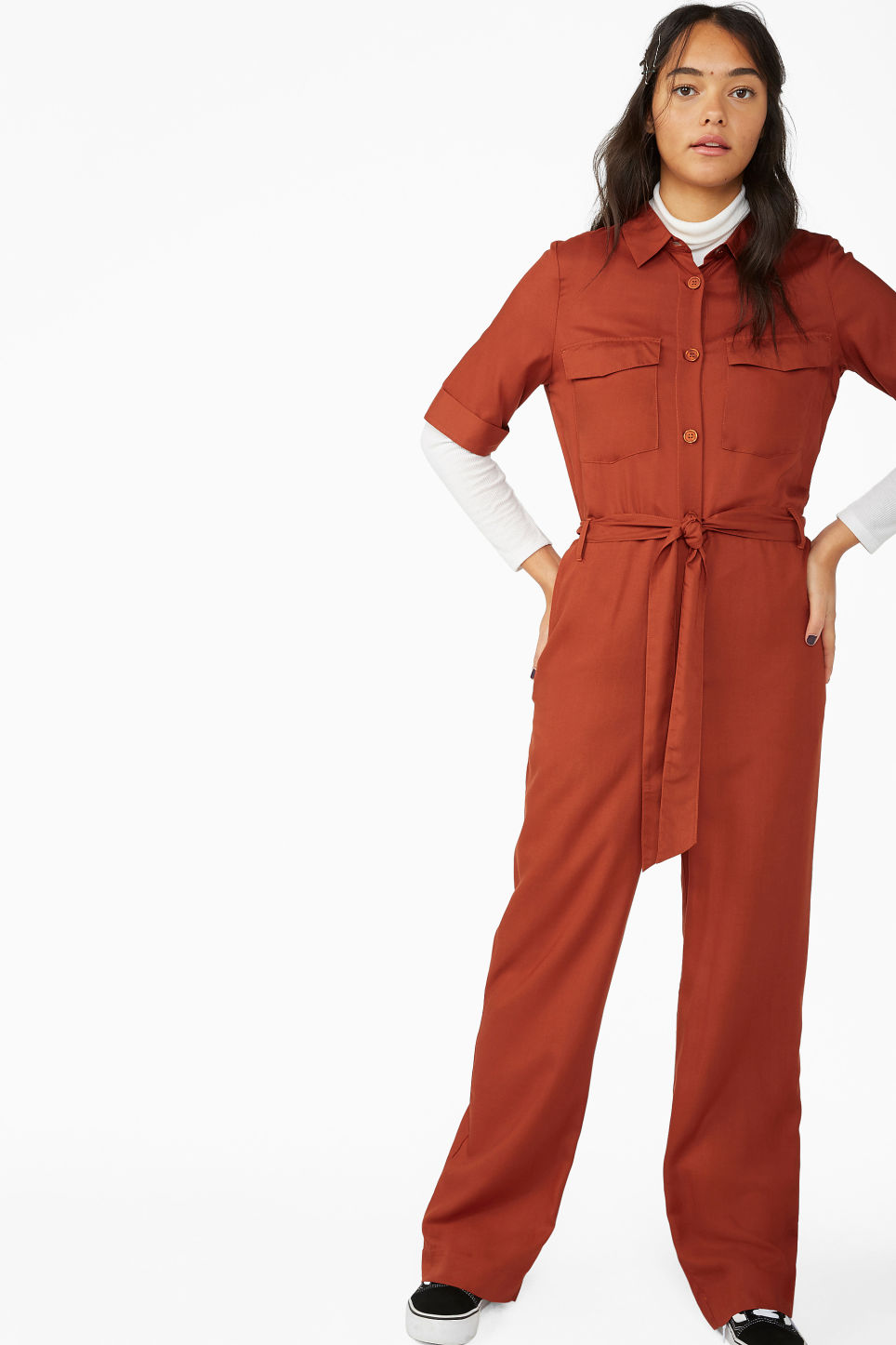 709c85db80 Model front image of Monki utilitarian jumpsuit in orange
