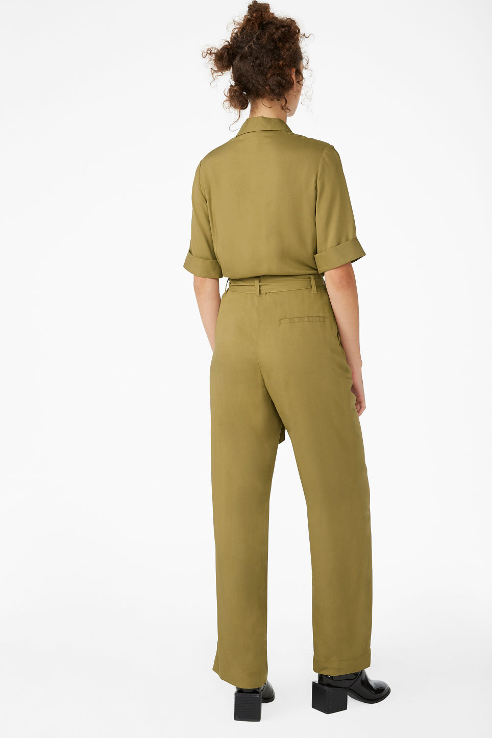Model back image of Monki utilitarian jumpsuit in beige