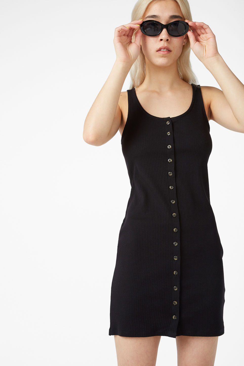 Model front image of Monki ribbed sleeveless dress in black