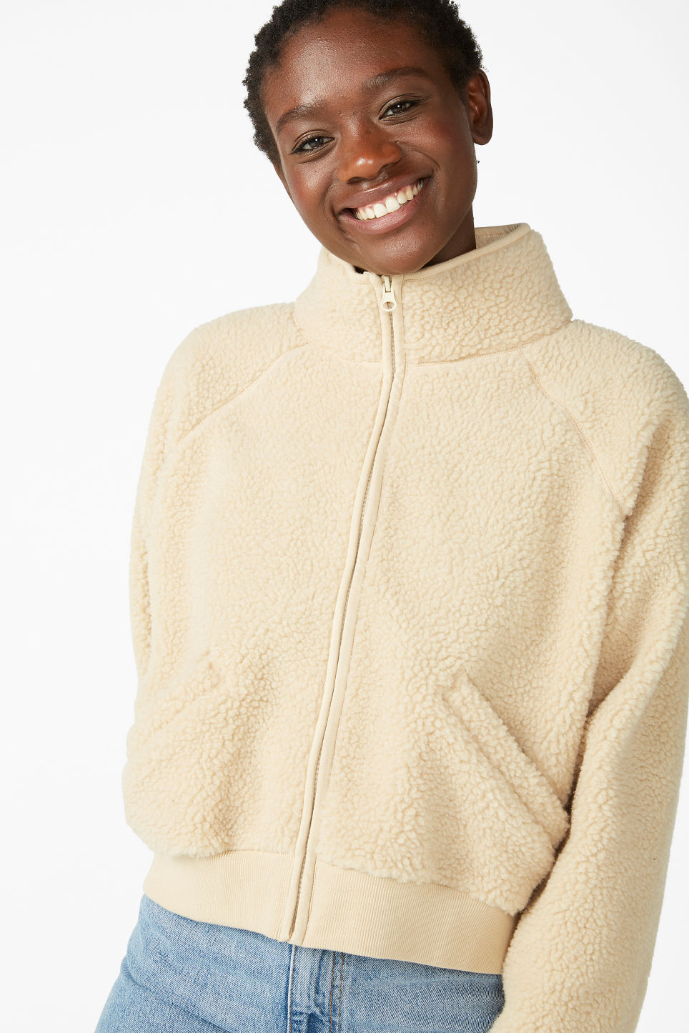 Model front image of Monki zipper raglan sweater in beige