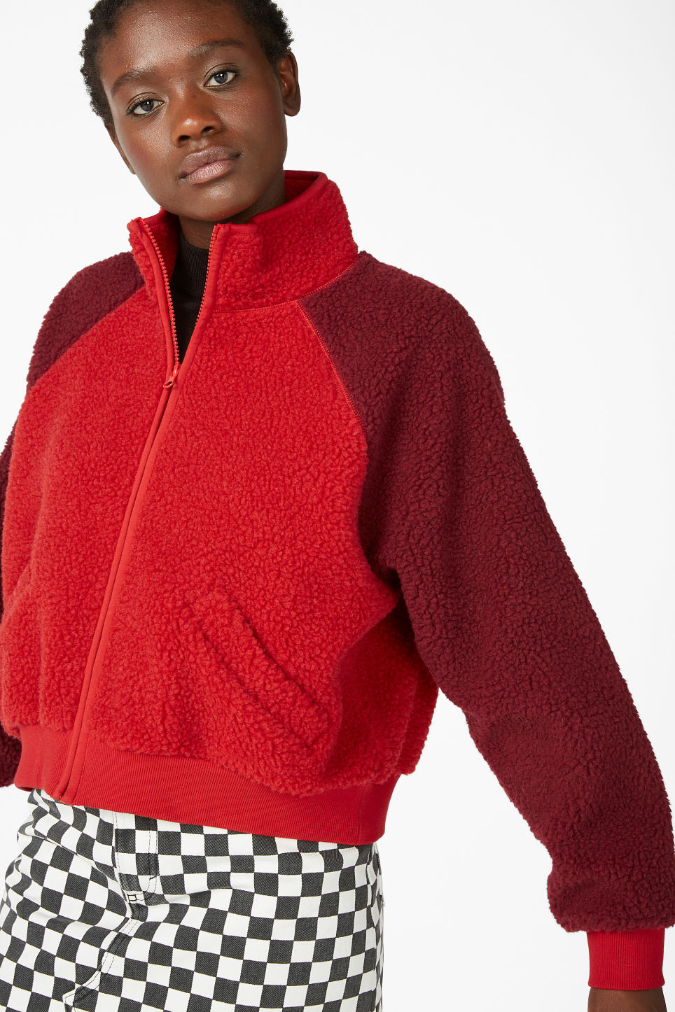 Model front image of Monki zipper raglan sweater in red