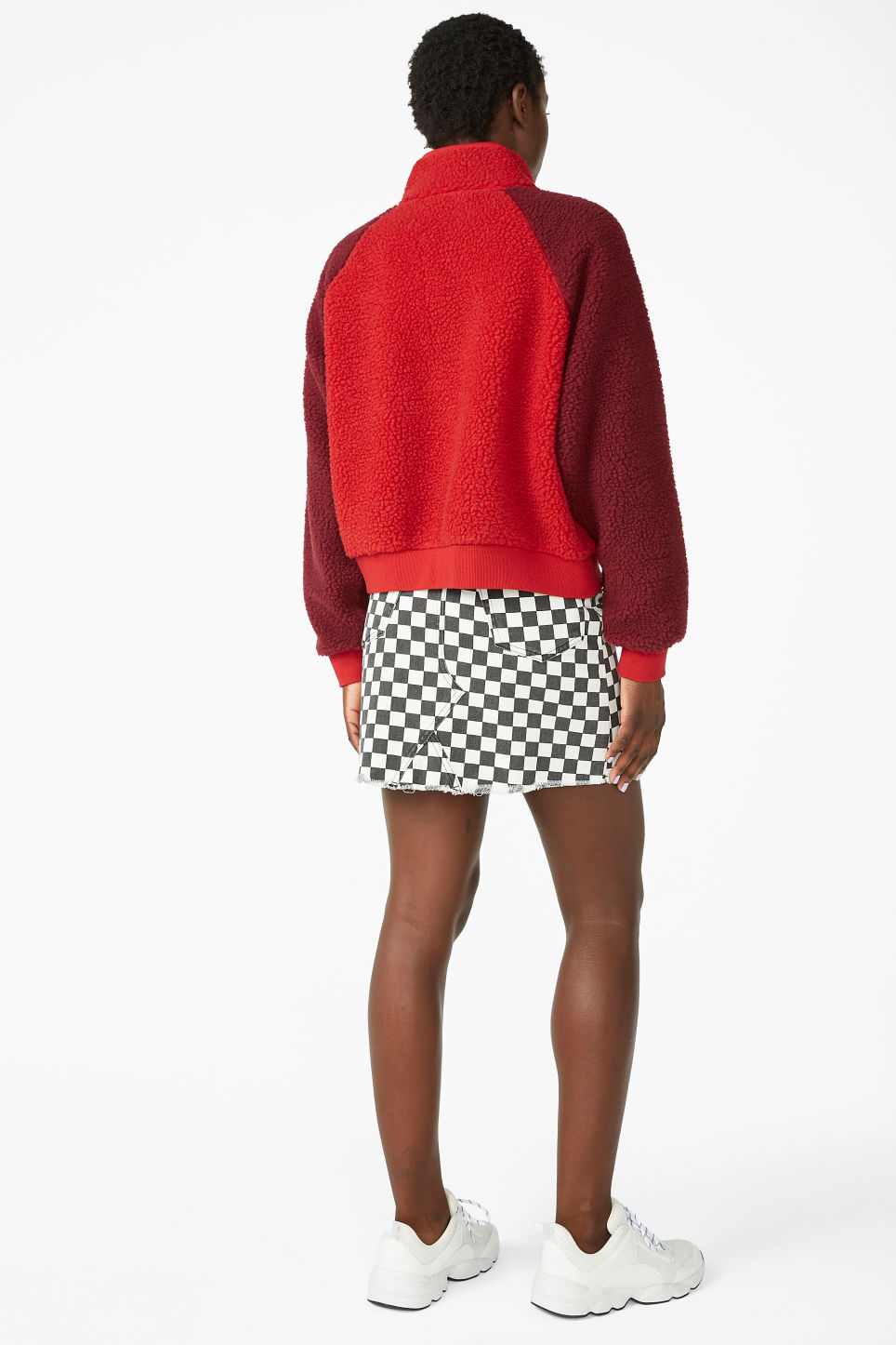 Model back image of Monki zipper raglan sweater in red