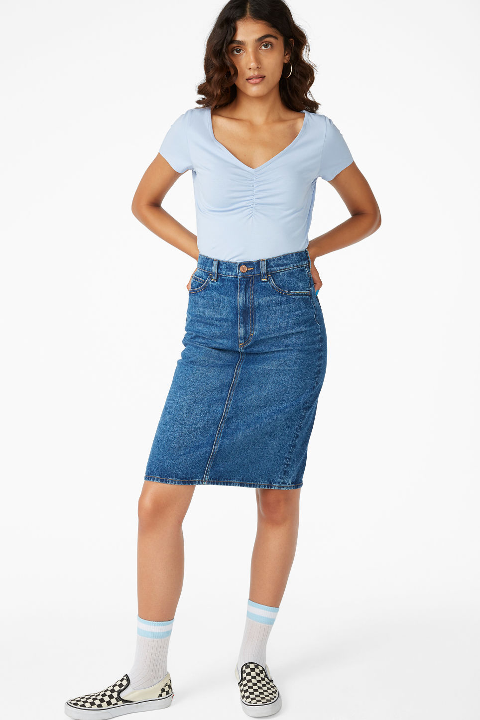 Model side image of Monki ruched front top in blue