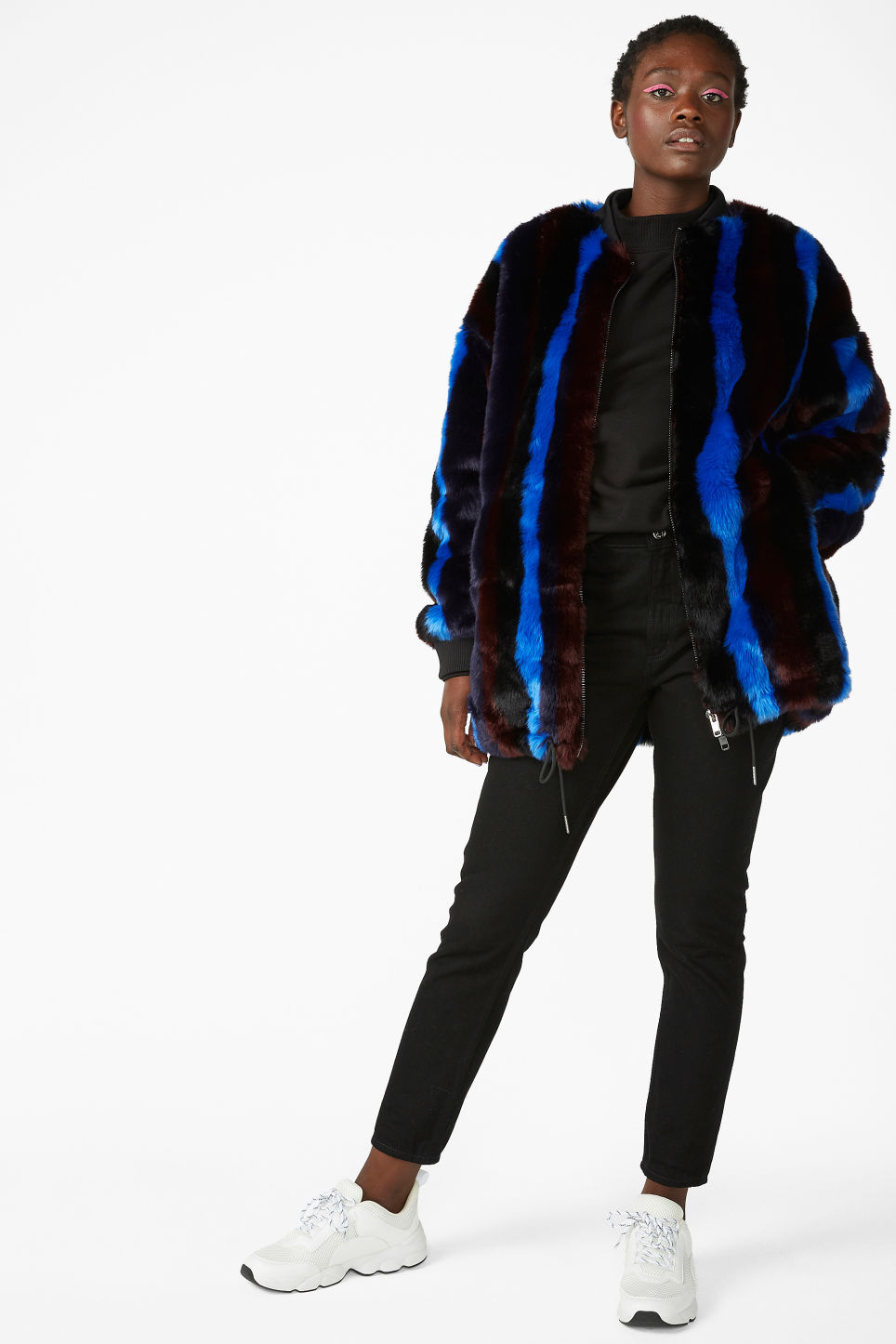 Model front image of Monki faux fur jacket in black